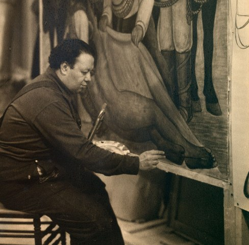 "The Mexican muralist Diego Rivera painting the ""portable mural"" at the MOMA in 1931"